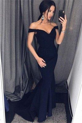 Black Off-the-Shoulder Prom Dress UKes UK Ruffles Sleeveless Mermaid Elegant Evening Dress UKes UK_1