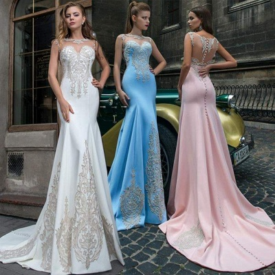Sweet Pink Illusion Neckline Formal Dress UKes UK, Sky Blue Sheer Formal Dress UKes UK Online Sale_2