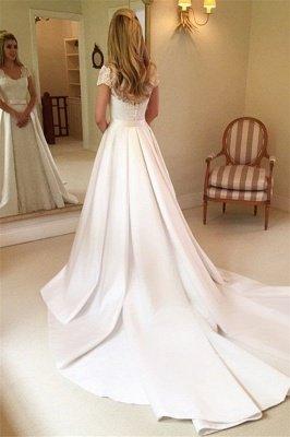 Applique Cap Straps Wedding Dresses UK Overskirt Jewel Floral Bridal Gowns_2