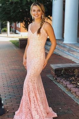 Fashion Pink Lace Straps Prom Dress UKes UK Sleeveless Backless Mermaid Evening Dress UKes UK Sexy Dress UKes UK_1