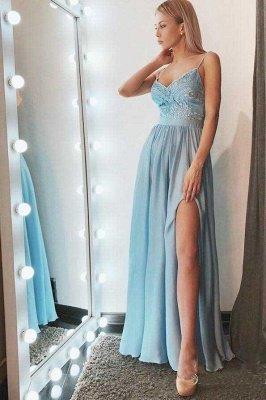 Lace Appliques Crystal Spaghetti-Strap Prom Dress UKes UK Side slit Sleeveless Evening Dress UKes UK_2