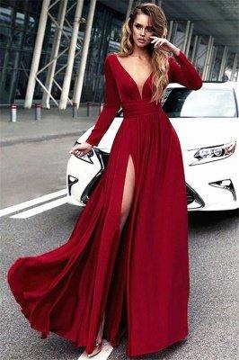 Red Long Sleeves Crystal Prom Dress UKes UK Open Back Side Slit Evening Dress UKes UK with Sash_1