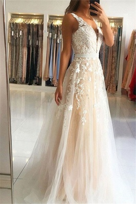 Lace Appliques Elegant V-Neck Sequins Prom Dress UKes UK Open Back Sleeveless Evening Dress UKes UK_1