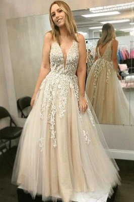 Sexy Lace Appliques Strap Prom Dress UKes UK A-Line Sexy Sleeveless Evening Dress UKes UK_1