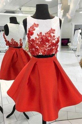 Beads Lace Appliques Jewel Homecoming Dress UKes UK Two Piece Sleeveless Short Party Dress UKes UK_1