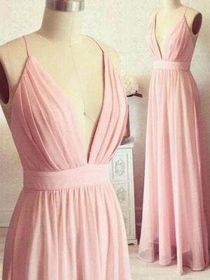 Romactic Pink Spaghetti Strap Ruffles Prom Dress UKes UK Sleeveless Elegant Evening Dress UKes UK with Sash_2