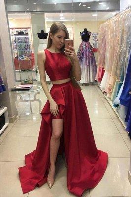 Thick Satin Two Piece jewel Prom Dress UKes UK Ruffles Side slit Mermaid Sleeveless Evening Dress UKes UK_1