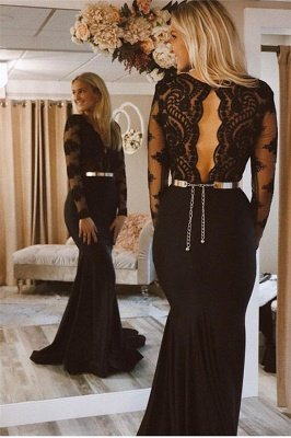 Sexy Timeless black Long Sleeves Lace Applique Long Elegant Trumpt Prom Dress UKes UK UK_2