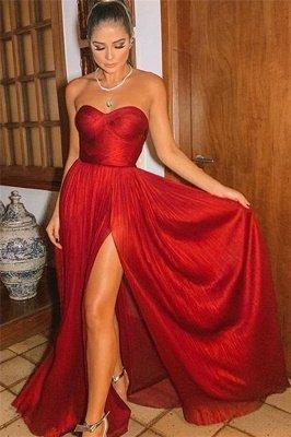 Elegant Trendy Burgundy Maroon Strapless Side-Split A-Line Long Prom Dress UK UKes UK_1