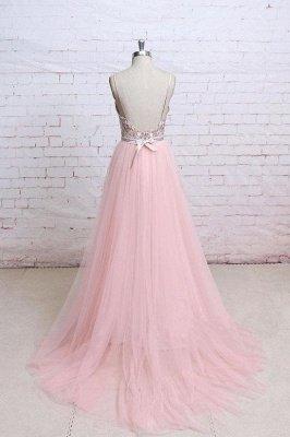 Sexy Lace Appliques Spaghetti-Strap  Prom Dress UKes UK Sheer Backless Bowknot Sleeveless Evening Dress UKes UK_3