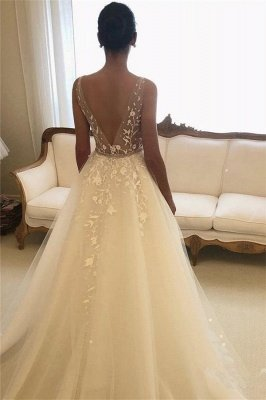 Elegant Sheer Cheap Straps Applique Wedding Dresses UK Sleeveless Floral Bridal Gowns with ribbons_2