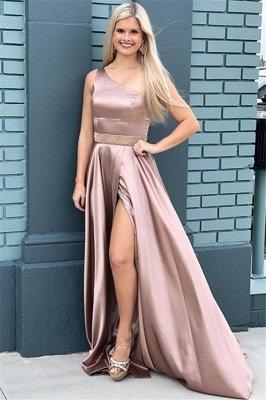 Sexy One-Shoulder Beads Prom Dress UKes UK Side Slit Sleeveless Elegant Evening Dress UKes UK with Sash_1
