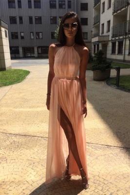 Sexy Sheer Halter Ribbons Prom Dress UKes UK Side slit Overskirt Bowknot Sleeveless Evening Dress UKes UK_3