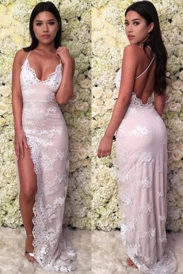 Lace Appliques Halter Prom Dress UKes UK Side Split Lace-Up Sleeveless Evening Dress UKes UK_2