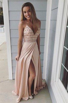 Sexy Spaghetti-Strap Crystal Prom Dress UKes UK Side slit Sleeveless Evening Dress UKes UK with  Beads_1
