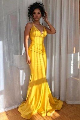 Sexy Yellow Spaghetti-Straps Alluring V-Neck Ruffle Elegant Mermaid Evening Dress UK UK_2