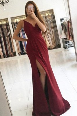 Sexy Elegant V-Neck Ruffles Mermaid Prom Dress UKes UK Side Slit Sleeveless Sexy Elegant Evening Dress UKes UK_1