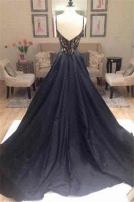 Black Lace Elegant V-Neck Sleeveless Prom Dress UKes UK Open Back Evening Dress UKes UK with Beads_8