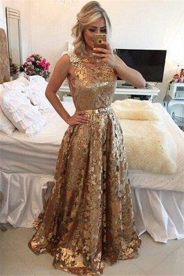 Luxury Gold Straps Beaded Sequins Sleeveless Prom Dress UK_1