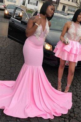 Sexy Sweet Pink Halter Sleeveless Elegant Trumpt Teens Evening Gown_2