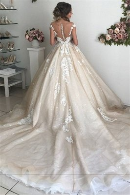 Applique Off-the-Shoulder Wedding Dresses UK Sequins Backless Sleeveless Floral Bridal Gowns_3