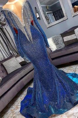 Luxurious Sequins Long Sleeves Elegant Mermaid Sheer Neckline Prom Dress UK UKes UK_3
