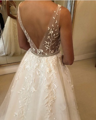 Elegant Sheer Cheap Straps Applique Wedding Dresses UK Sleeveless Floral Bridal Gowns with ribbons_3
