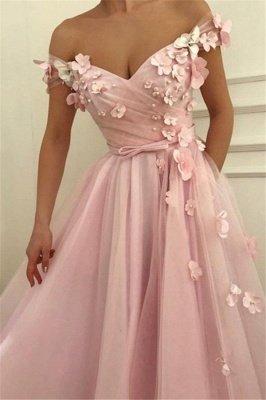 Pink Flower Off-the-Shoulder Prom Dress UKes UK Sleeveless Beads Elegant Evening Dress UKes UK with Sash_4