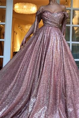 Simple Off-The-Shoulder Sequins A-Line Evening Dress UK_3