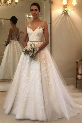 Elegant Sheer Cheap Straps Applique Wedding Dresses UK Sleeveless Floral Bridal Gowns with ribbons_1
