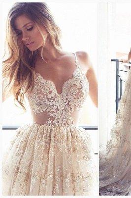 Lace Appliques Elegant V-Neck Prom Dress UKes UK Tiered Backless Sleeveless Evening Dress UKes UK_1