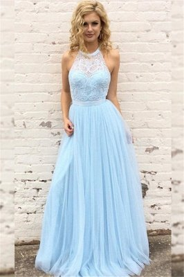 Sexy Lace Halter Prom Dress UKes UK Sleeveless Tulle Elegant Evening Dress UKes UK with Sash Sexy_1