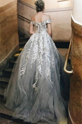 Lace Appliques Off-the-Shoulder Prom Dress UKes UK Lace up Ball Gown Sleeveless Evening Dress UKes UK_2