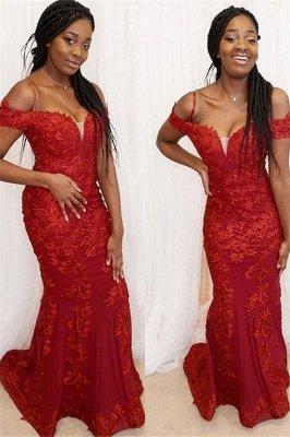 Red Off-the-Shoulder Applique Prom Dress UKes UK Mermaid Sleeveless Elegant Evening Dress UKes UK_1