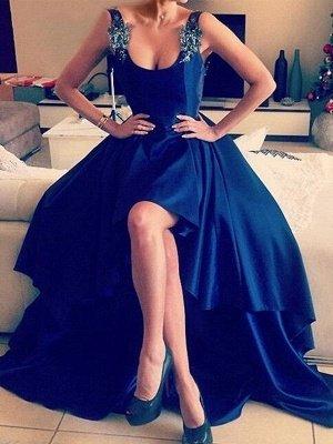 Royal Blue 3-D Flower Crystal Prom Dress UKes UK Hi-lo Open Back Elegant Evening Dress UKes UK with Beads_1