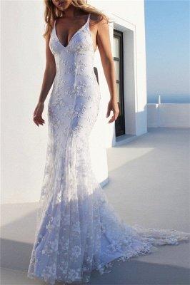 Sexy Spaghetti-Strap Lace Appliques Prom Dress UKes UK Side slit Lace-Up Mermaid Sleeveless Evening Dress UKes UK_3