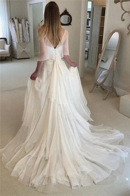 Elegant Applique Tiered Elegant Wedding Dresses UK Sheer Cheap Longsleeves Backless Floral Bridal Gowns_2