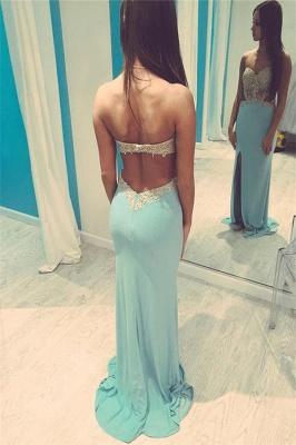 Crystal Weetheart Lace Appliques Prom Dress UKes UK Side slit Mermaid Sleeveless Evening Dress UKes UK_2