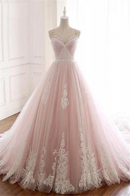 Sexy Spaghetti-Strap Flower Lace Appliques Prom Dress UKes UK Ball Gown Ruffle Crystal Sleeveless Evening Dress UKes UK_1