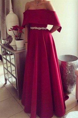 Sexy Off-the-Shoulder Ruffles Prom Dress UKes UK Sleeveless Elegant Evening Dress UKes UK with Sash_2