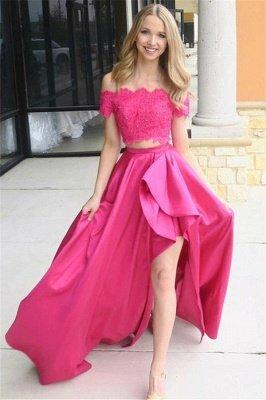 Sexy Pink Beads Lace Appliques Off-the-Shoulder Prom Dress UKes UK Side slit Sleeveless Evening Dress UKes UK_1