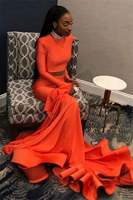 Elegant Orange Long-Sleeves High-Neck Elegant Trumpt Long Prom Dress UK_4