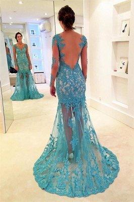 Sexy Lace Appliques Elegant V-Neck Prom Dress UKes UK Bacless Mermaid Longsleeves Evening Dress UKes UK_1