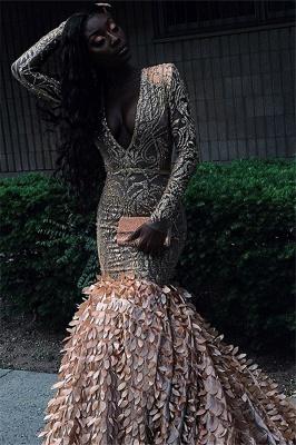 Simple Long Sleeves V-Neck Lace Applique Long Elegant Trumpt Prom Dress UKes UK UK_2