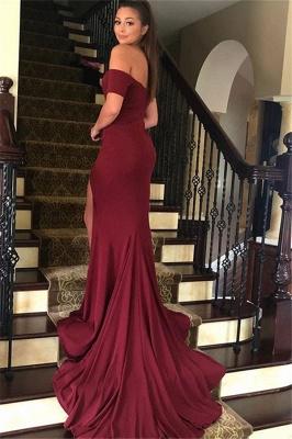 Burgundy Off-the-Shoulder Prom Dress UKes UK Side Slit Mermaid Sleeveless Elegant Evening Dress UKes UK_2
