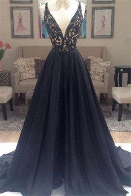 Black Lace Elegant V-Neck Sleeveless Prom Dress UKes UK Open Back Evening Dress UKes UK with Beads_2