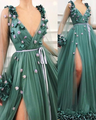 Amazing Green with Sleeves Tulle Side-Split A-Line Prom Dress UK UK_3