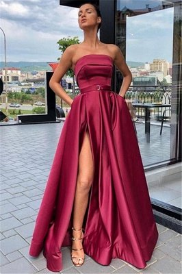 Trendy Burgundy Maroon Strapless Side-Split A-Line Evening Dress UK UK_1