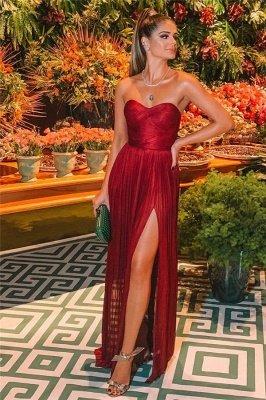 Elegant Trendy Burgundy Maroon Strapless Side-Split A-Line Long Prom Dress UK UKes UK_2
