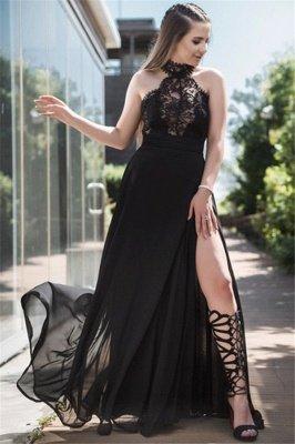 Black Lace Sleeveless Prom Dress UKes UK Tulle Side Slit Elegant Evening Dress UKes UK Sexy_2